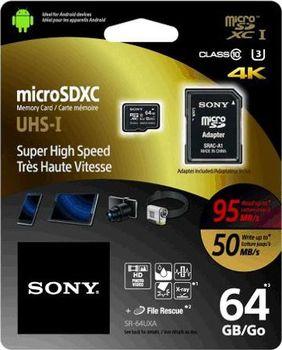 Sony microSDXC 64 GB Class 10 UHS-I U3 + SD adaptér (SR64UXA