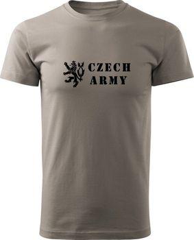 ee51947d069 Tričko Czech Army Lion - světle šedá