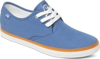 7ad7175ee Stylové tenisky pro muže od značky Quiksilver, modré tenisky v kombinaci  kontrastní oranžovou a bílou podrážkou, kontrastní bílé tkaničky a logo  značky ...