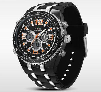 d1f30fbb1c6 Masivní pánské hodinky s velkým ciferníkem a duálním časem. Kvalitní hodinky  klasického stylu s velkým ciferníkem.