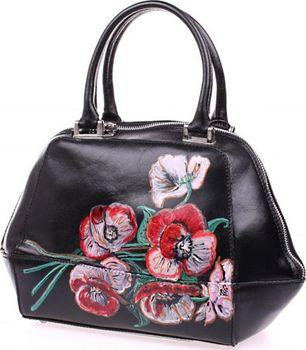 e9d2f34cb6 Kožená ručně malovaná kabelka - Květiny