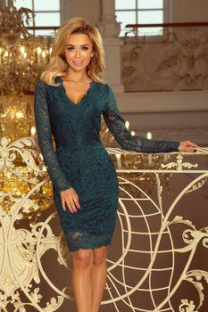 86f330815730 Společenské dámské šaty s dlouhým rukávem krajkové zelené Krajkové  společenské šaty. Nádherné krajkové šaty s dlouhým rukávem a výstřihem do V.