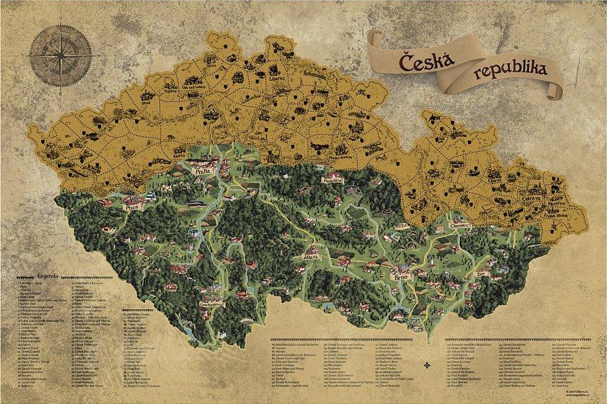 Giftio Stiraci Mapa Ceske Republiky Deluxe Xl Zlata Od 503 Kc