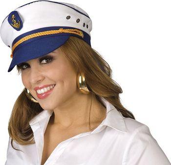 59e7f8ef131 Modrobílá čepice kapitánka s kšiltem a…