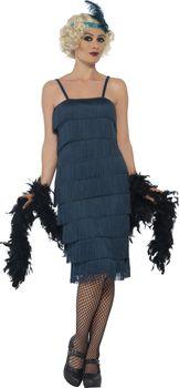 94e81000d4d2 Tyrskysové šaty s třásněmi 30. léta Dámská…
