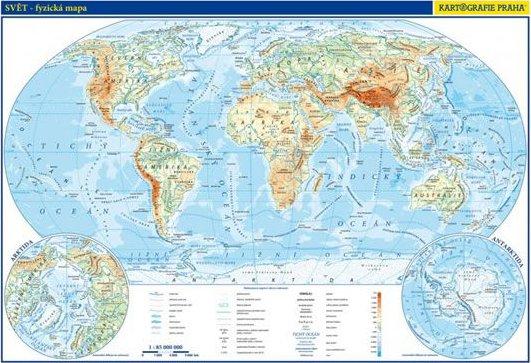 Svet Fyzicka A Politicka Mapa 1 85 000 000 Kartografie Praha Od