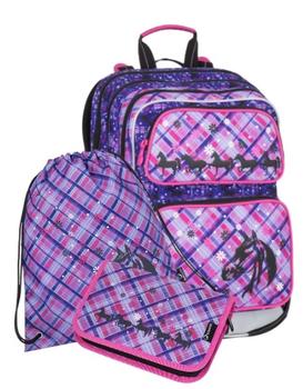 Bagmaster set Galaxy 7 B. Tříkomorový dívčí školní batoh pro prvňáčky s  potiskem motýlků a ... da14c67d1b