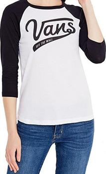 ca4ddd30d Trendy dámské triko od značky Vans se dodává v moderní barevné kombinaci  černé a bílé barvy. Má kulatý výstřih a 3/4 rukávy.