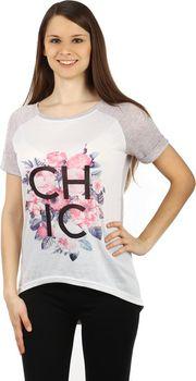6739cffc3d9 Glara Dámské volné tričko s potiskem (hnědá