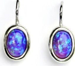 6577bf681 Stříbrné náušnice, fialový syntetický opál,…