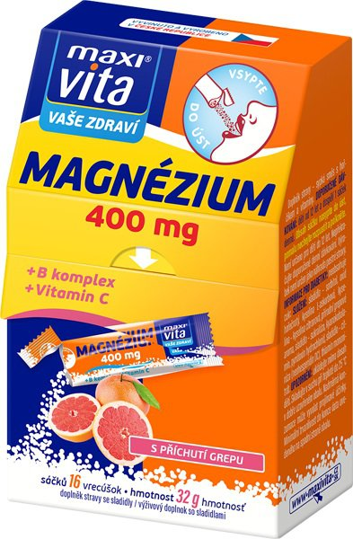 c65c89af2 MaxiVita Magnézium 400 mg + B komplex + Vitamin C 16 sáčků od 54 Kč |  Zboží.cz