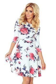 30aedf7effd4 Krásné dámské šaty s rozšířenou sukní s květinovým motivem. Šaty mají 3 4  rukávy.
