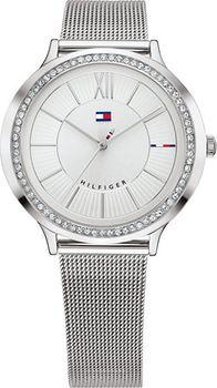f0884d8297 Dámské hodinky módní značky Tommy Hilfiger vás okouzlí na první pohled.  Ocelové pouzdro zaujme osazením třpytivými zirkony.