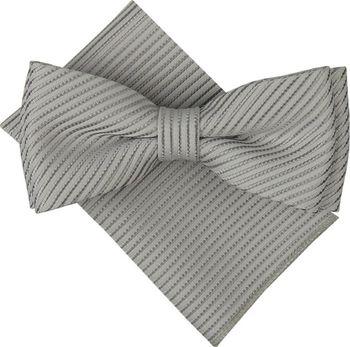 064ba5d3358b Světle šedý pánský motýlek s šedými pruhy a…