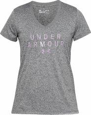 7c8ea8bb29e5 dámské tričko Under Armour Tech SSV Graphic šedé lila