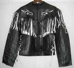 Kožená bunda dámský křivák na motorku - černobílé třásně L 12b6e78809