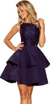 Numoco 205-3 tmavě modré. Společenské dámské šaty. 3f9c7e9a92