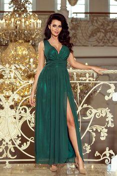 37af872e7dfd Luxusní dámské plesové šaty. Tento model šatů je bez rukávů s hlubokým  výstřihem do V.