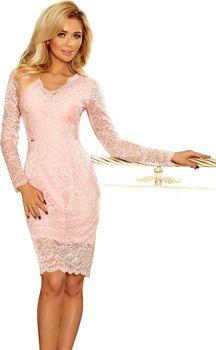 Numoco 170-4 pudrově růžová. Společenské dámské šaty s dlouhým rukávem  krajkové ... 8528070889