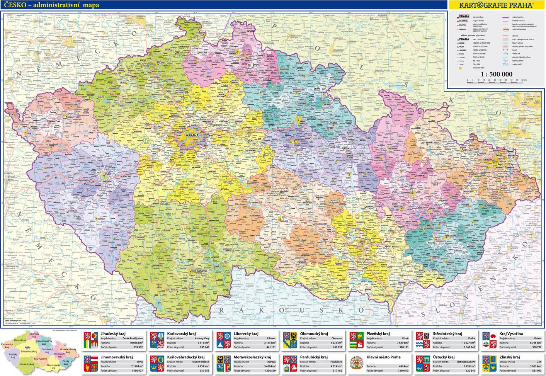 Ceska Republika Administrativni Mapa 1 500 Tis Kartografie