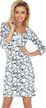 4a32092d0cd8 Nádherné šaty s černým vzorem jsou vyrobené z příjemného a silného  materiálu. Šaty mají tříčtvrteční rukávy a krásný výstřih.