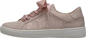 272b3b1923 Nádherné polobotky sportovního stylu v růžové barvě s bílou podešví jsou  zdobené květinovým motivem na vnější straně a mašle místo tkaniček je  doladí.