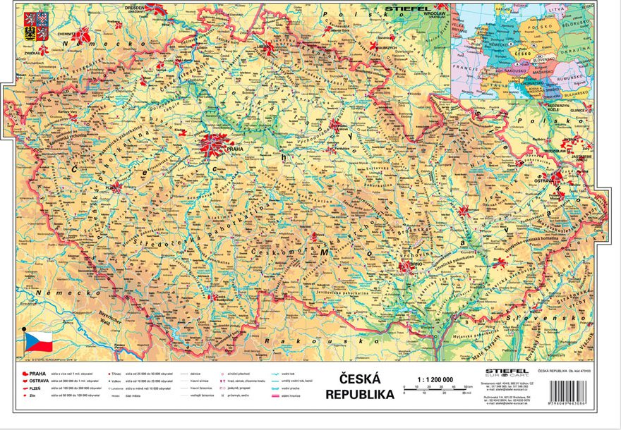 Cr Fyzicka Kraje Mapa A3 Stiefel 2018 Od 44 Kc Zbozi Cz