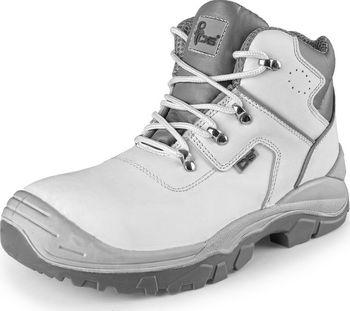 Kožená kotníková obuv s ocelovou špicí se svrškem z hladké hydrofobní kůže  a podšívkou z kvalitní prodyšné textilie. PU-PU podešev je olejivzdorná 68a0ed2c4c