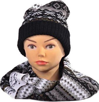 Černý zimní komplet čepice a šála René… b0d90c7d57