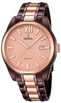 57b6707623e Módní pánské hodinky Festina ve velice luxusním provedení. Bronzová v  kombinaci s hnědou vytváří zajímavý design.