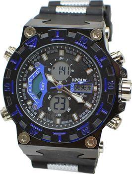 e51f696305f Masivní pánské hodinky s ciferníkem a duálním časem. Pánské značkové hodinky  I-POLW 628 blue.