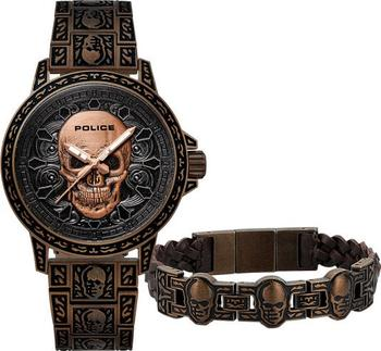 3fa78af86 Pánské hodinky Police Skull jsou tím pravým pro všechny muže milující  tajemno a výrazné doplňky. Součástí balení je i náramek ve stejném designu,  ...