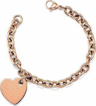 78d8fed67 Originální pozlacený náramek pro ženy od značky Tommy Hilfiger, vyrobený z  kvalitní oceli, pozlacené růžovým zlatem. Řetízek s většími oky je ozdoben  ...
