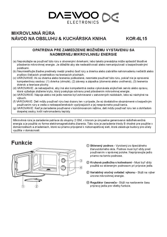 návod k použití Daewoo KOR6L15 • Zboží.cz