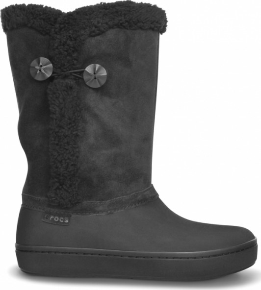 Crocs Modessa Suede Button Boot Black ad416ddc9b