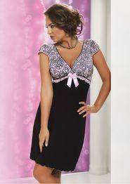 dámská noční košile Noční košilka Donna Daisy - Černá S 84b8910fa4