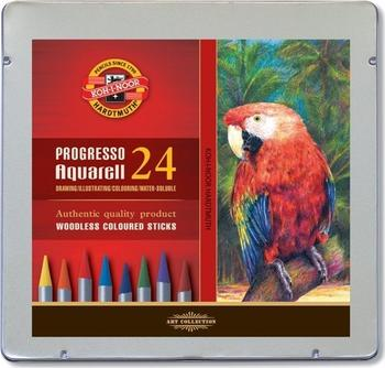 Umělecké akvarelové pastelové tužky KOH-I-NOOR PROGRESSO AQUARELL v kovové  kazetě 24ks bba267df7f