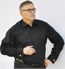 ec18b287926 Košile nadměrná velikost 31024 (pánská černá manžetový knoflík dlouhý rukáv  Non iron)