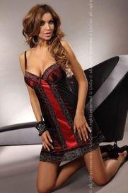 412e2556790 dámská noční košile Dámská košilka Sora XXL červená-černá 3XL