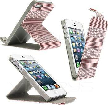 Kožené flip pouzdro se stojánkem pro Apple iPhone 5 - červené od 101 ... 7a928bfa151