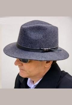 Anytra šedý klobouk 85021 (pánský plstěný v šedé barvě 100% vlna- klobouky) 4ecc0d840f