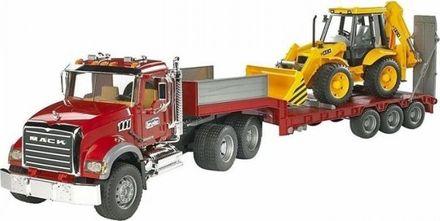 Bruder BR2813 Nákladní auto Mack Granit návěs + traktor JCB