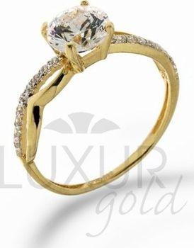 Luxusní mohutný zásnubní zlatý prsten s obrovským zirkonem 585 1 c72ee784473