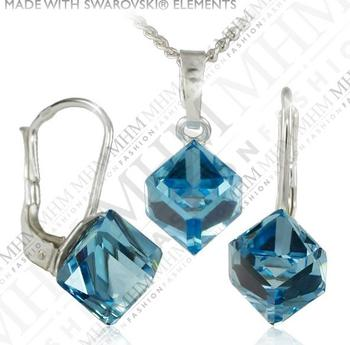 Souprava šperků Kostička Aquamarine Ag s krystaly Swarovski MADE WITH  SWAROVSKI® ELEMENTS d3e17b3765c