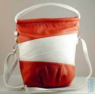cd73c12b58 Dámská kožená kabelka 100312 OR - oranžovo bílá