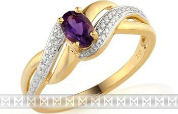 Zasnubni Luxusni Zlaty Prsten S Diamanty A Fialovym Velkym Ametystem