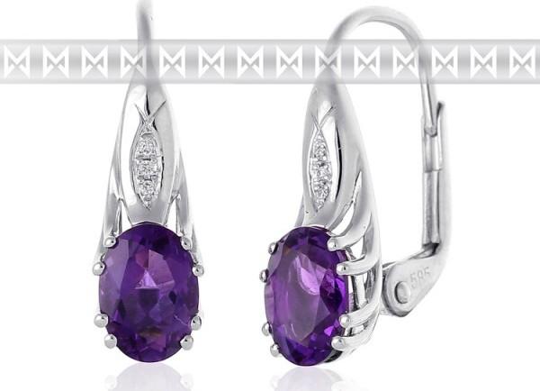 Luxusní diamantové náušnice z bílého zlata s diamanty a fialovým ametystem  3880903-0-0-95 od 15 200 Kč • Zboží.cz 4bc218030a5