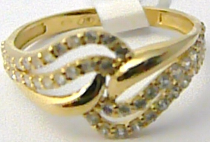 4ca8d2375 Mohutný dámský zlatý prsten posetý zirkony 52ks pro štěstí 585/1,79g vel.54  H534 od 3 150 Kč | Zboží.cz