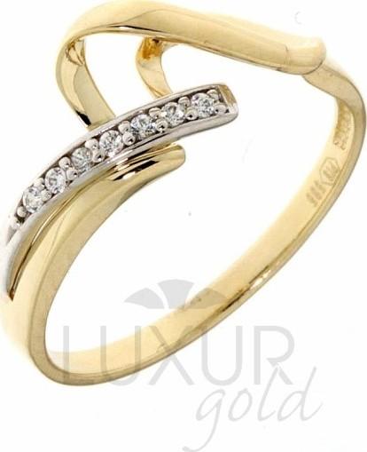 546aec113 Luxusní velký zlatý prsten posetý zirkony z bílého a žlutého zlata  1110582-5-56- 1110582-5-56-1 od 3 899 Kč | Zboží.cz