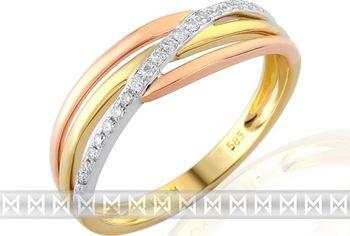 Luxusni Prsten S Diamantem Kombinace Bile Zlute Cervene Au